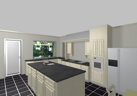 Keuken zicht kolomkast met eiland 2 interieurbouw de clercq - Eigentijdse keuken met eiland ...
