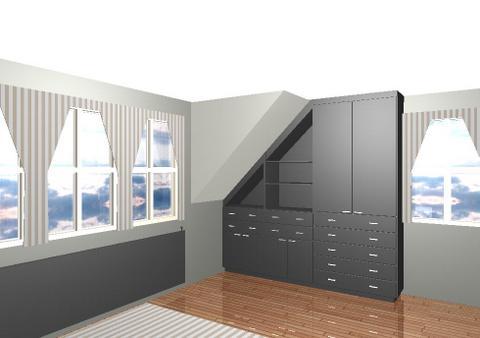 Slaapkamerinrichting, zicht kast onder schuin dak – Interieurbouw De ...